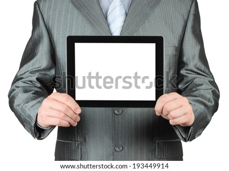Businessman with tablet PC on white background   - stock photo