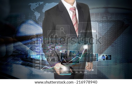 businessman with technology concept in future on smartphone - stock photo