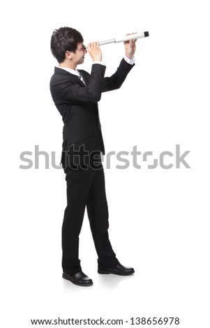 Businessman with telescope ( spyglass ) looking forward Prospects for future business. full length, isolated on white background, asian model