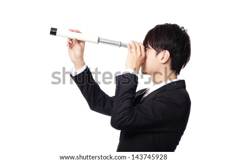 Businessman with telescope ( spyglass ) looking forward Prospects for future business. isolated on white background, asian model - stock photo