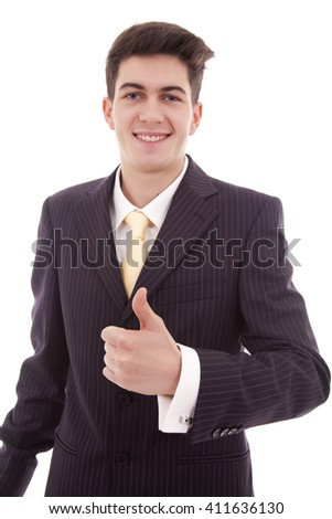 businessman with thumb up, isolated on white - stock photo