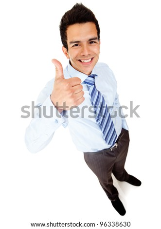 Businessman with thumbs up - isolated over a white background - stock photo