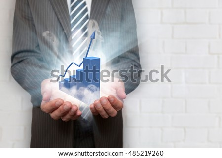 Businessman with tie and blue chart with smoke and lights.