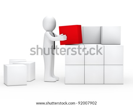 businessman with tie stack red cube box - stock photo