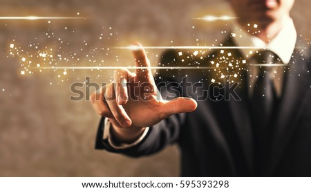 Businessman with touch screen on dark vintage background