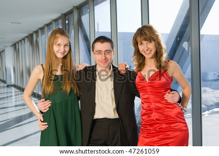 Businessman with two cute girls