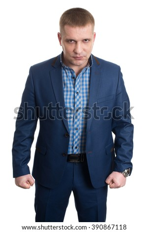 Businessman with two fists isolated on white background - stock photo