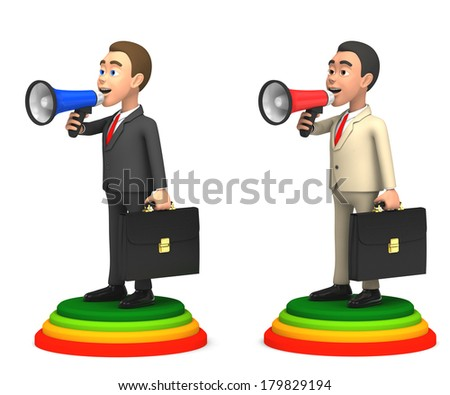 businessman with two horns - stock photo