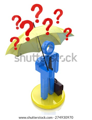 Businessman with umbrella and question mark - stock photo