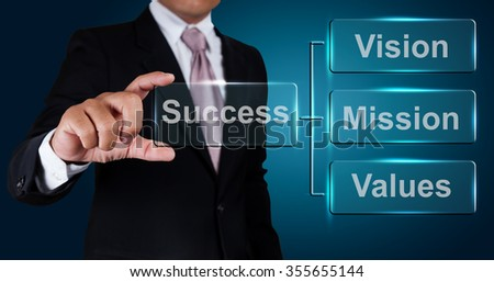 Businessman with vision mission and values label. - stock photo