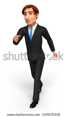 Businessman with walking   - stock photo