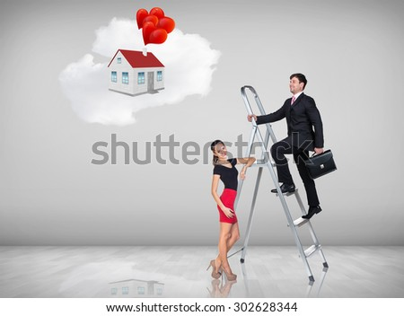 Businessman with woman assistant climbing a ladder with motivation background - stock photo