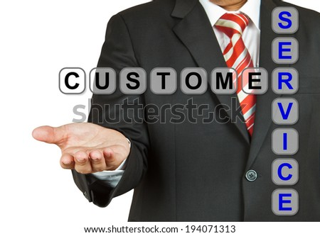 Businessman with wording Customer Service isolated on white background