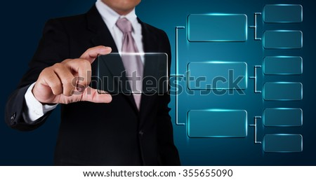 Businessman with working plans of organization. - stock photo