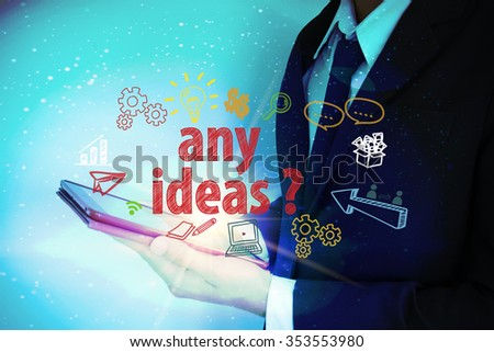 businessman with worldwide and ANY IDEAS text , business concept