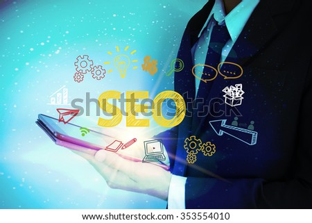 businessman with worldwide and SEO text , business concept