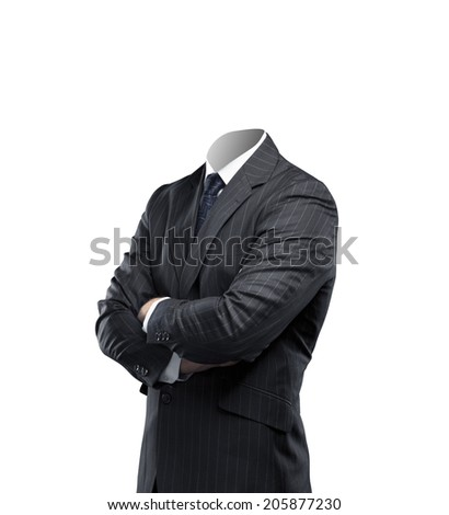 businessman without a head on a white background - stock photo