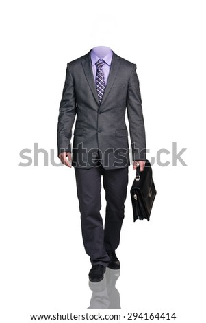 Businessman without head, with briefcase walking, isolated on white