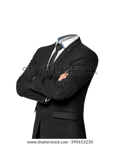 Businessman without heat isolated on white background.  Empty business suit concept