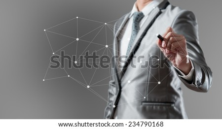 Businessman woking with globalization marketing concept - stock photo