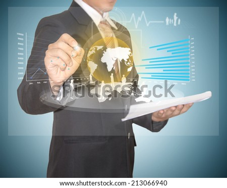 businessman work with high technology on future