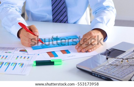businessman working at a desk computer graphics