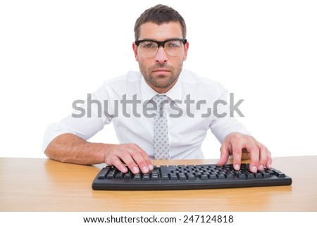 Businessman working at his desk on white background