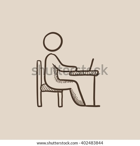 Businessman working at his laptop sketch icon. - stock photo