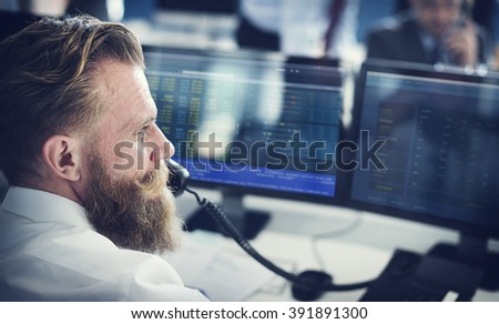 Businessman Working Finance Trading Stock Concept - stock photo