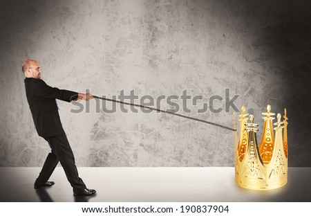 Businessman working for success - stock photo