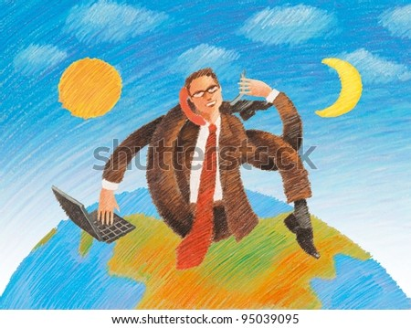 Businessman working global day and night illustration - stock photo