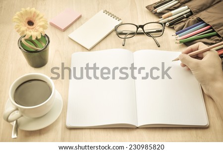 Businessman working in coffee shop. - stock photo