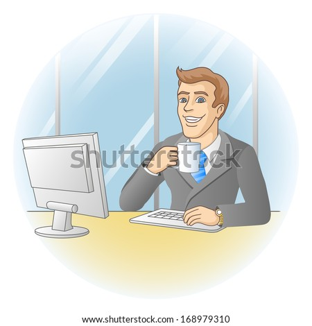 Businessman working in office. In the workplace. Businessman drinks coffee.  Raster version