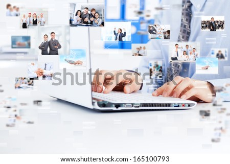 businessman working laptop, business man typing finger sitting at desk office, concept internet on line web surfing, businesspeople icons