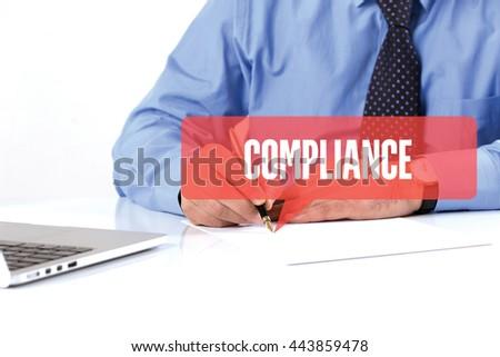 BUSINESSMAN WORKING OFFICE  COMPLIANCE COMMUNICATION SPEECH BUBBLE CONCEPT - stock photo