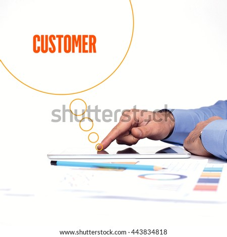 BUSINESSMAN WORKING OFFICE  CUSTOMER COMMUNICATION TECHNOLOGY CONCEPT - stock photo