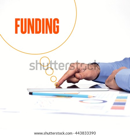 BUSINESSMAN WORKING OFFICE  FUNDING COMMUNICATION TECHNOLOGY CONCEPT - stock photo