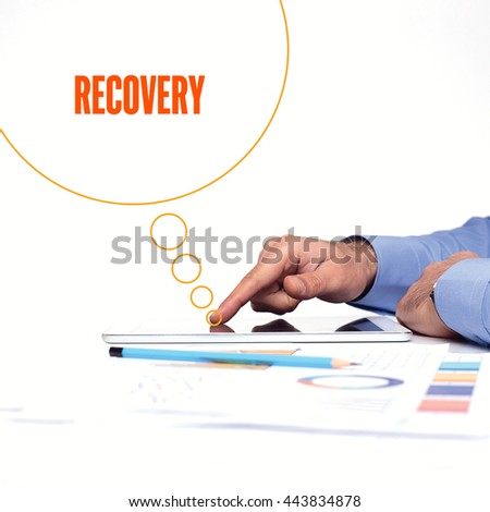 BUSINESSMAN WORKING OFFICE  RECOVERY COMMUNICATION TECHNOLOGY CONCEPT - stock photo