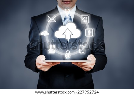 Businessman working on digital object cloud computing concept