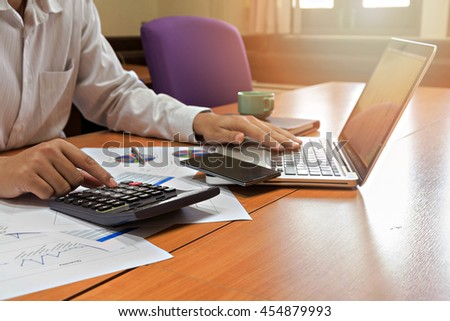 Businessman working on his plan project