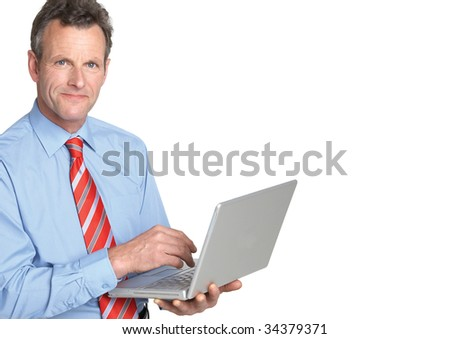 businessman working on laptop - stock photo