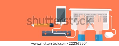 Businessman working on notebook with different task. Young business man working with modern devices digital tablet computer and mobile phone in flat design style. Raster version - stock photo