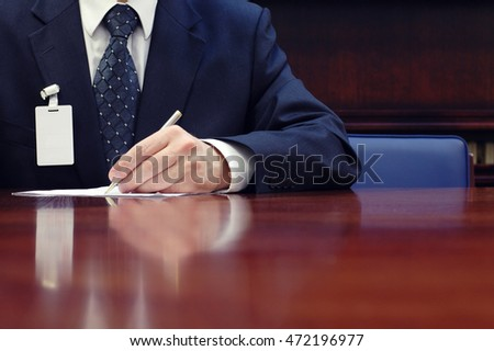 Businessman working on the contract, business  meeting , contract signing concept