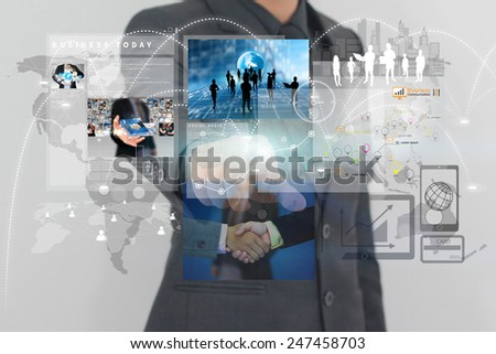businessman working on virtual screen.business concept,technology,management