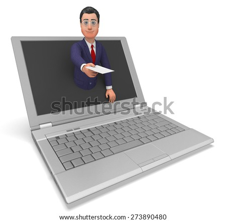 Businessman Working Online Showing Web Site And Executive - stock photo
