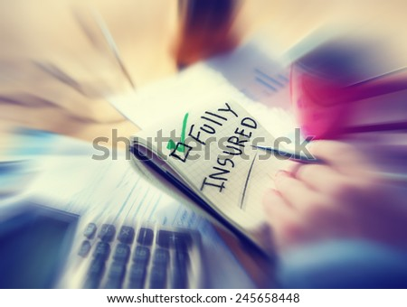 Businessman Working Security Insurance Fully Insured Concept - stock photo