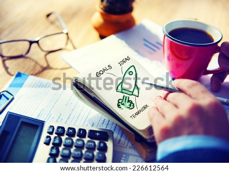 Businessman Working Start Up Goals Launch Concept - stock photo