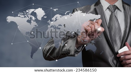 Businessman working with digital object, business globalization concept - stock photo