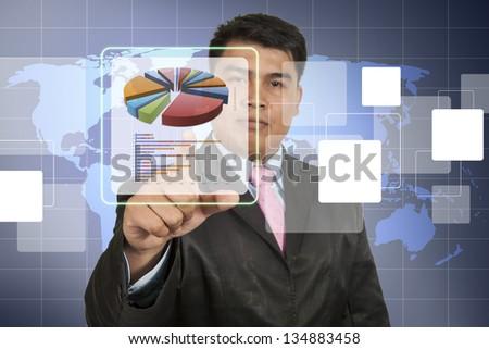 Businessman  working with digital vurtual screen - stock photo