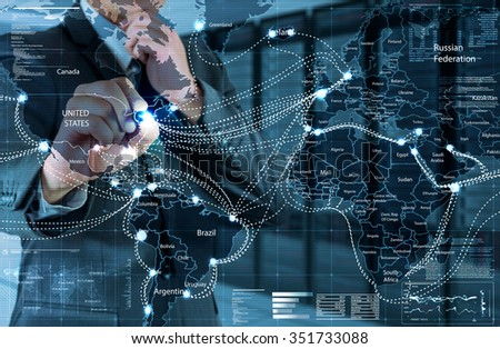 businessman working with global connection screen and server room background